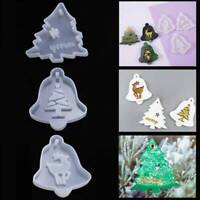 Christmas Resin Mold Xmas Tree Bell Reindeer Cupcake Topper Silicone Mould Craft