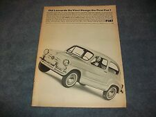 "1966 600D Da Vinci Mona Lisa Vintage Ad ""Always Have At Least One Fiat"""