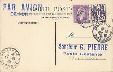 CARTE LETTRE PAR AVION DE NUIT TOULOUSE POUR BORDEAUX POSTE RESTANTE 1945