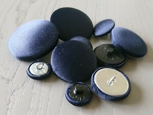 Navy Blue Satin Fabric Buttons, 10mm, 16mm, 20mm, 25mm, 31mm, 37mm Small & Large