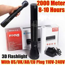 Focus 3D 1800meter CREE LED TACTICAL RECHARGEABLE POLICE FLASHLIGHT TORCH AU