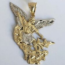 Big real 14k Yellow white Gold saint michael miguel Pendant Charm 2 inches long
