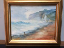 """Sue Beeren (b1942- ) Signed Oil Painting Coastal Seascape 10""""x12"""" Framed"""
