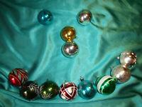 ~ 12 antike Christbaumkugeln Glas bunt rot silber grün weiß Weihnachtskugeln