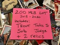 200 Card random Baseball Box 2 relics +10 Rookies + charity donation DAD GIFT