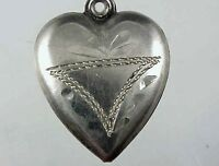 Vintage 1940's Sterling Silver Puffy Heart Charm with Etched Design