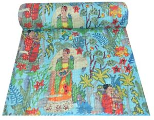 Handmade Kantha Broderie Double Couverture Inde