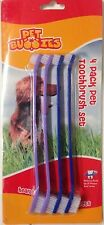 Dog Toothbrush Set Pack of 4 Double Ended Large & Small Brush Head Del