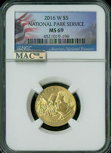 2016-W NATIONAL PARKS $5 GOLD NGC MAC MS-69 SPOTLESS RAREST AT 5,150 MINTED