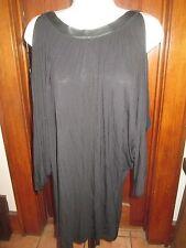 Bailey 44 Womens Leather Neckline Thin Drapey PulloverTop Blouse Open Batwings L