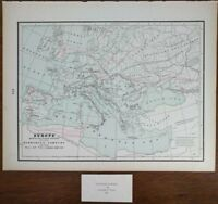 "Vintage 1900 EUROPE BARBARIAN INROADS 14""x11"" Old Antique Original ROMAN EMPIRE"
