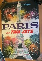 Vintage Original 1962 TWA Poster David Klein Paris 24x36 Original NOT A REPRO