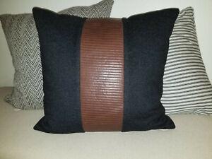 "Ralph Lauren NWT $850 Wool, Cashmere, Leather Throw Pillow, 18"" x 18"""