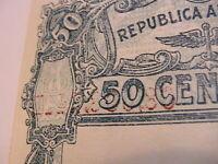 1947 Argentina 50 Centavos nice Ch VF w Ink Transfer Error Paper Money Banknotes