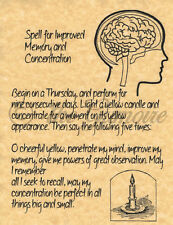 Improved Memory and Concentration, Book of Shadows Spells Page, Witchcraft Wicca