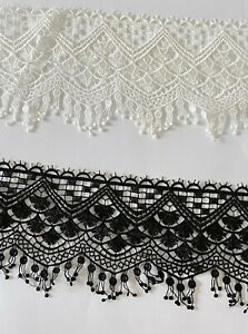 Guipure Lace Small Tassels Trim Polyester - Off White /Black 10 cm Wide/ 1 yard