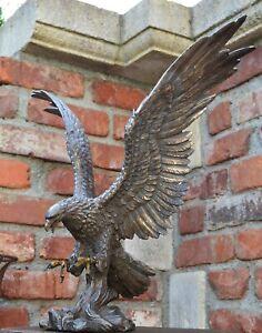 Großer Adler Wings of Glory bronziert Gartenfigur Greifvogel Garten
