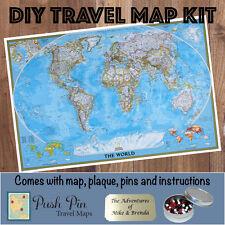 DIY Classic World Push Pin Travel Map Kit