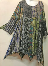 FUNKY STUFF tier patch boho soft flannel hanky TOP TUNIC DRESS 2X 22W Free shipp
