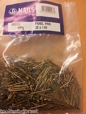 1.6 x 25mm Solid Brass Panel Pins. 500g bag.