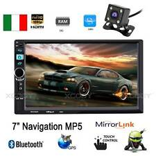 "7"" AUTORADIO Car Stereo Bluetooth LETTORE MP5 GPS Android FM 2 DIN + Telecamera"
