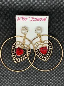 BETSEY JOHNSON Red Stone Heart & Pearl Gold-Tone Drop Hoop Earrings NWT $42 L@@K