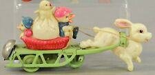 Wind-Up Lithograph~Celluloid Easter Rabbit Pulling Sled~Rabbit Driver~Chicks Egg
