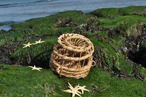 "ornamental small (9"" across the base) wicker lobster/ crab pot trap"