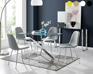 LEONARDO Grey Chrome Glass Dining Table Set & 4 Velvet Faux Leather Chairs