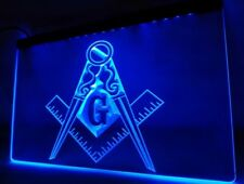 Square & Compass Masonic Freemason LED Neon Light Bar Bedroom Sign 30x20cm