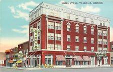 Linen Postcard; Hotel Evans & Coffee Shop, Vandalia IL Fayette County Unposted