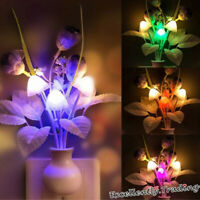 US EU Plug Fashion Flower Mushroom LED Night Light Sensor Baby Bed Room Lamp