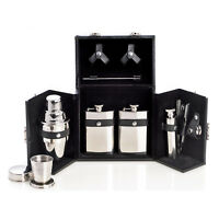 BAR SETS - 10-PIECE STAINLESS STEEL BAR SET IN BLACK LEATHER CASE - TRAVEL BAR