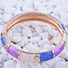 Great New Yellow Gold Plated Purple Blue & White Enamel Crystal Bangle Bracelet