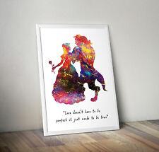 La Bella Y La Bestia, grabado, cartel, Disney, cotización, Pared Arte, inspirador