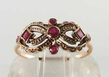 DIVINE 9CT 9K ROSE GOLD INDIAN RUBY ART DECO INS MASK RING FREE RESIZE