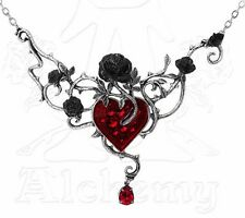 NWT Bed Of Blood Roses Black Rose Red Heart Pendant Necklace P630 Alchemy Gothic