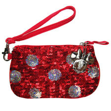 Disney Parks Sequin Red Minnie Mouse Polka Dot Wristlet Bag - Change Purse