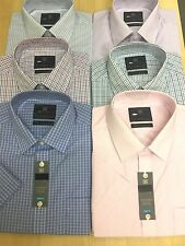 M&S COTTON RICH EASY TO IRON CHECK& STRIPED SHORT Sleeve REG:& SLIM FIT SHIRTS