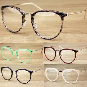 Oval Clear Lens Fashion Glasses Slim Metal Frame Vintage Retro  Womens Mens