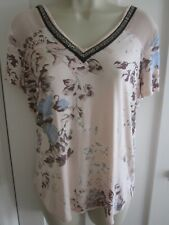 Ladies size 12 Next pale peach floral v neck summer embellished beading top