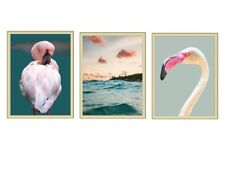 """Set of 3 Flamingos, Pink Sky Photo Art Print Posters 8 x 10"""" Unframed Full Color"""