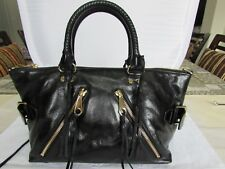 Rebecca Minkoff Moto Satchel Tote Bag Black Crackled Leather Handbag Bag $335