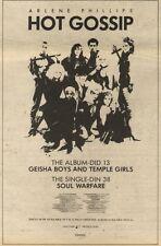 7/11/81PGN52 ADVERT: HOT GOSSIP ALBUM GEISHA BOYS AND TEMPLE GIRLS 10X7