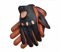 Two-Tone Sheepskin Leather Gloves Men (Black & Brown)