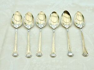 FABULOUS ANTIQUE STERLING SILVER MONOGRAMMED TEASPOONS SET OF 6 USA C 1910'S