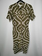 DIANE VON FURSTENBERG Cotton Midi Shirt Wrap Dress Size US10 UK14 Khaki Safari