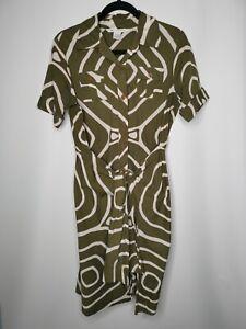 DIANE VON FURSTENBERG DVF Midi Shirt Wrap Dress Size 10 Khaki Safari Oversized