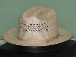STETSON SHANTUNG STRAW VENTED OPEN ROAD 2 WESTERN HAT