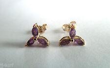 Amethyst Gemstone Stud Earrings, 0.60ctw, Designed in Solid 10K Yellow Gold